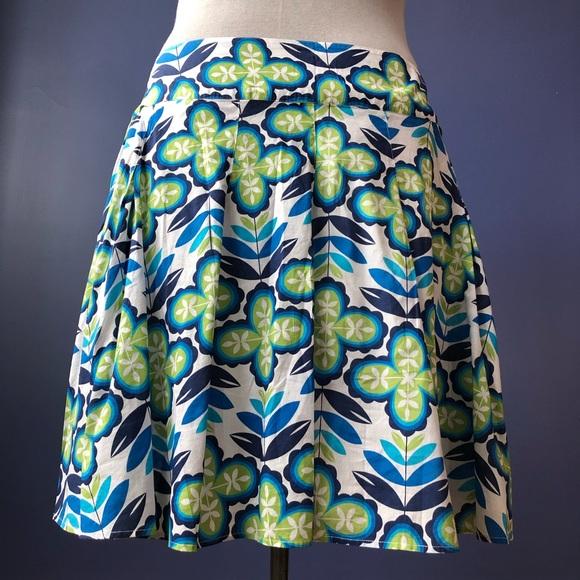 Cotton Retro Green Floral Cotton A-line Skirt 22